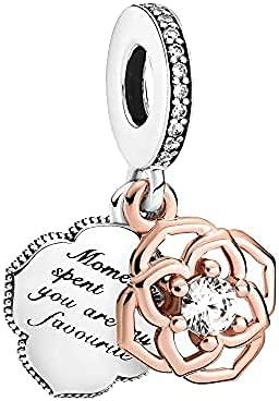 LaMenars Lucky Rose Daisy Flower Woven Infinity Love Charms para Pulseras Pandora 925 Silver 5A Cubic Zirconia Beads Regalo para cumpleaños Aniversario Día (Rosa de Dos Tonos)