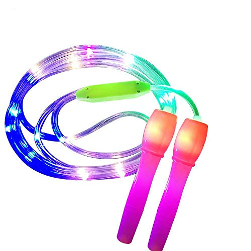Bouddha LED Jump Rope, Light Up Skipping Rope Luminous Sports Equipment for Girls Boys Adults Skipping Exercise Fitness Light Show, Random Color