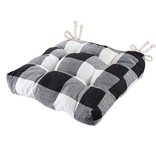 Big Hippo Chair Pads Square Cotton Chair Cushion with Ties Soft Thicken Dining Chair Pads Pillow for Home Indoor Office or Car Use 17quot x 17quotPlaid