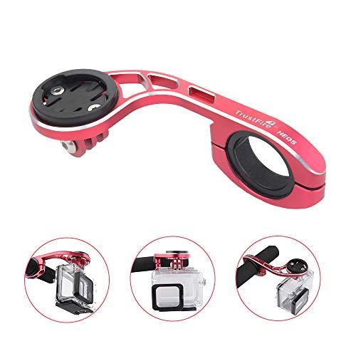TrustFire Soporte de bicicleta GPS para ordenador de bicicleta, soporte de manillar para cámara deportiva Go Pro Garmin Edge, Bryton – ajustable (negro, azul y rojo)