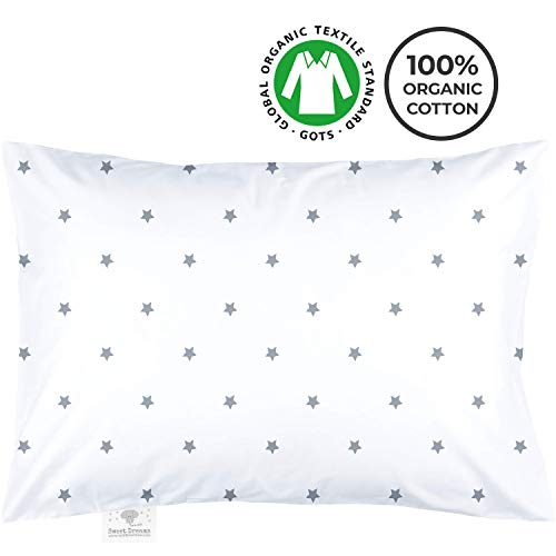 My Little North Star Toddler Pillowcase - 100% Organic Cotton - Hypoallergenic Super Soft Safe and Comfortable - No Harsh Chemicals on Your Toddlers Skin - White and Grey Stars