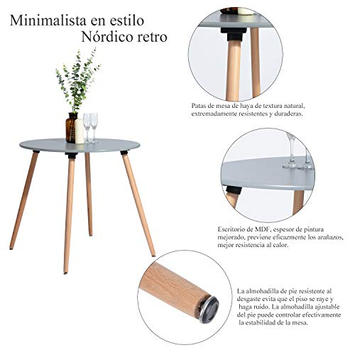 FurnitureR Mesa de Comedor Redonda para 4 Personas Réplica Eames para Salón, Cocina, Café,…