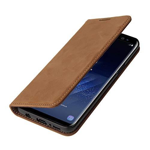 Wormcase ® Echtleder Handytasche kompatibel mit Samsung Galaxy S9 – LEDERHÜLLE - KARTENFACH – Magnetverschluss – Wildleder - in Braun - Echt-Leder-Tasche-Hülle-Hülle Schutz-huelle Echtes-Leder