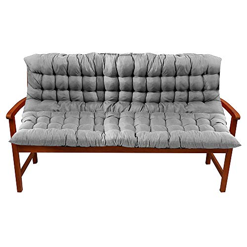 Bench Cushion Outdoor Bench Pad 150 x 100 x 5 cm 3 Seater Comfortable Non-slip Reliable Cushion Garden Furniture Natural Backrest for Patio Garden Bench or Swing (Grey)