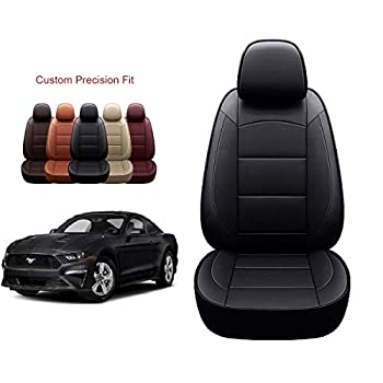 OASIS AUTO 2015-2019 Mustang Custom Fit PU Leather Seat Covers Full Set Compatible with Ford Mustang 2015 2016 2017 2018 2019 CoupeNon-Convertible  2015-2019 Mustang Non-Convertible Black