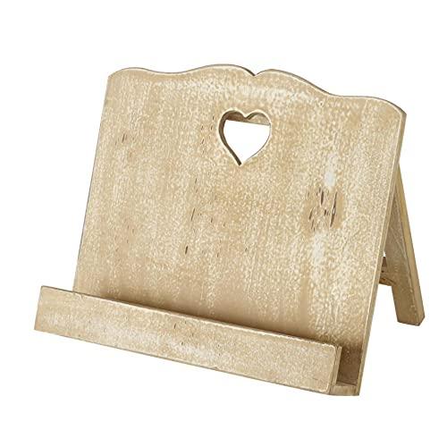 Atril de madera para libros de cocina, estilo shabby chic marrón con corazón, altura 28 cm