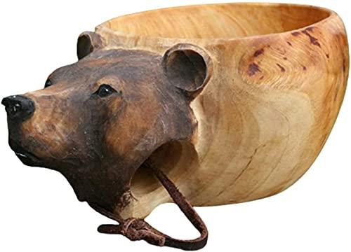 HGYLMC - Tazza in legno intagliato a mano, con testa di animali con manico in legno, per la tazza da campeggio, in legno, portatile, tazza da caffè, tè e latte (orso)