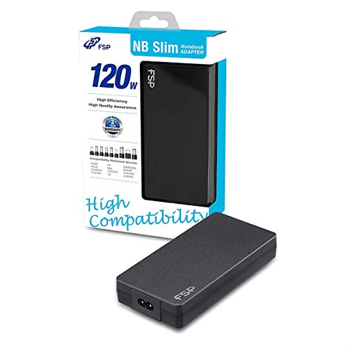 FSP PNA1200703 NB Slim Universal Notebook-Adapter 120W, 100-240V, kompatibel mit 18~20V Notebooks, Power Standby 0.1W, 25.4mm Höhe, schwarz
