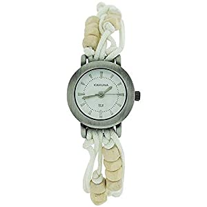 Kahuna Ladies White String Bead Bracelet Watch Toggle Pull Closure KLF-0001L