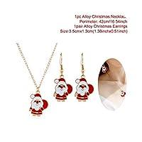 クリスマスツリーサンタクロースクリスマスイヤリングネックレスセット2021ホームクリスマスギフト新年2021のメリークリスマスデコレーション-Santa Claus Set-