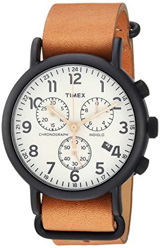 Timex Men's TW2T29300 Weekender Chrono Tan/Black/Cream Two-Piece Leather Strap Watch