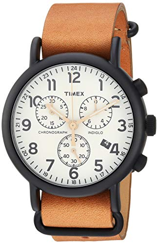 Timex Men's TW2T29300 Weekender Chrono Tan/Black/Cream Two-Piece Leather Strap...