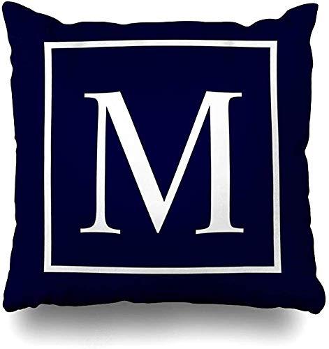 Doble Cojines Fundas 18' Monograma en Azul Marino Funda de Almohada Suave para la Piel