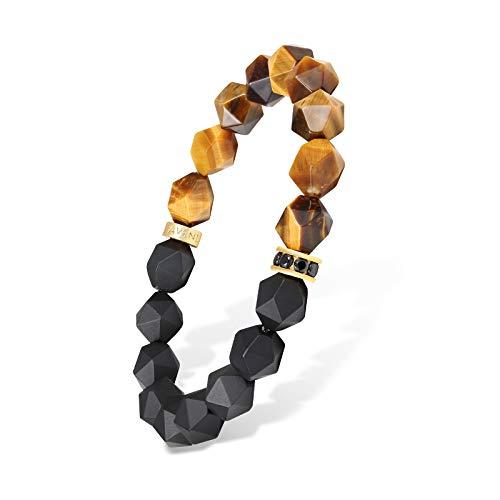 AWNL - Pulsera elástica para hombre, diseño de ojo de tigre marrón facetado, color negro L(Wrist Size 17-18CM)