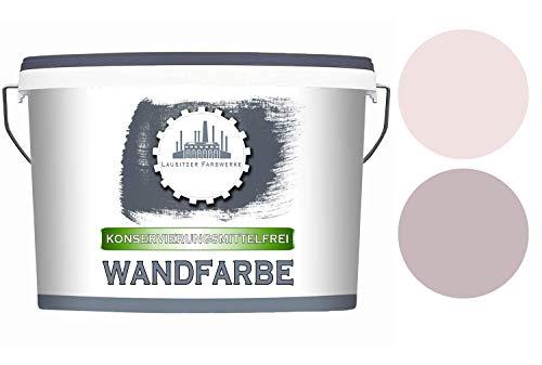 Lausitzer Farbwerke Wandfarbe KF Mauve matt - KONSERVIERUNGSMITTELFREI Wandfarbe für innen Allergikerfreundlich QUALITÄT + EINFACHE ANWENDUNG (10 L, Misty Mauve)