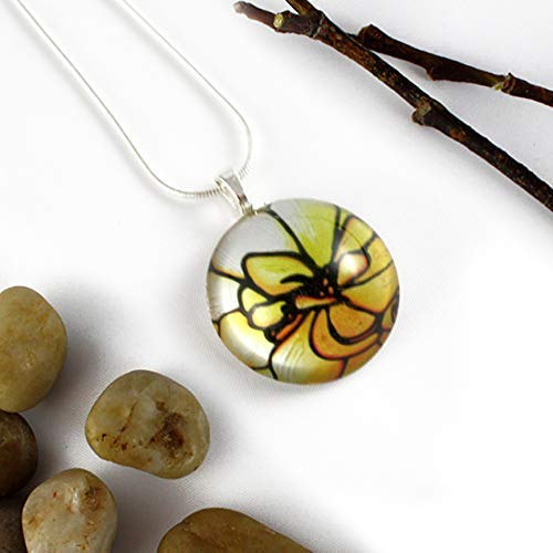 Flower Glass Circle Pendant 925 with lowest Outlet ☆ Free Shipping price Silver Necklace Ha Sterling