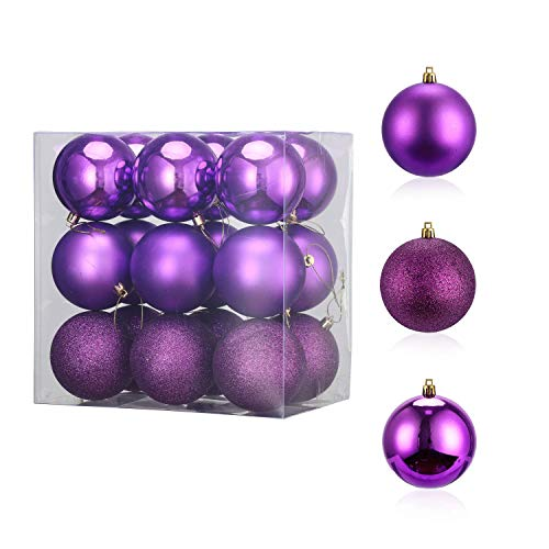 LessMo 18Pcs 8cm Palline di Natale, Palla Sfera Infrangibile in Plastica per Albero di Natale, Decorazioni Natalizie con Ciondolo a Pallina da Appendere per La Casa Decorazioni per Feste
