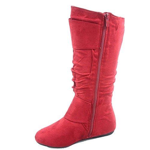 TOP Moda Bank-81 Women's Fashion Round Toe Flat Heel Zipper Buckle Slouchy Mid-Calf Boot Shoes (6.5, Red)