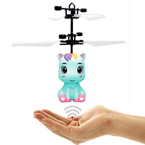 Fliegendes Baby Einhorn Blau - Pegasus - Unicorn mit Led Lichter Einfach zu Steuern mit der Hand Der Hit auf jeder Party Das Spielzeug für kleine und große Girls Tolles Geburtstagsgeschenk