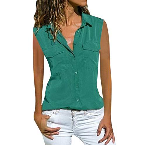 Qigxihkh Damen lässig solide ärmellose Umdrehkragen Taschen Knopf vorne Hemd Tops(Grün, XL)