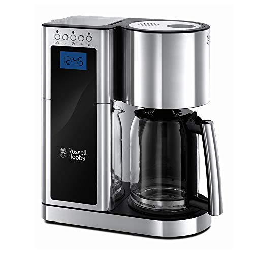 Russell Hobbs Digitale Kaffeemaschine Elegance Edelstahl, Timer-Funktion, bis 10 Tassen, 1,25l Glaskanne, 1600W, Schnellheizsystem, Warmhalteplatte, Abschaltautomatik, Filterkaffeemaschine 23370-56