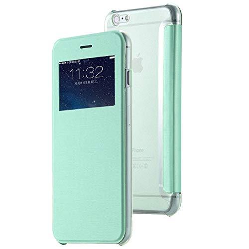 Roar Handy Hülle für iPhone 5 / 5S Handyhülle Grün mit Fenster, Tasche Schutzhülle Handytasche [Ultra Slim Wallet, Design Flipcase, Inkl. Sichtfenster]