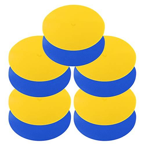 F Fityle 10 Unidades Conos de Campo Plano de Entrenamiento de Alta Tenacidad y Repetidamente de Azul y Amarillo
