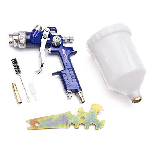 IPOTOOLS HVLP Lackierpistole Spritzpistole 1,4mm - H-827P Profi Farbsprühsystem Spraypistole mit 600 ml Plastikbecher und Edelstahldüse 1,4mm