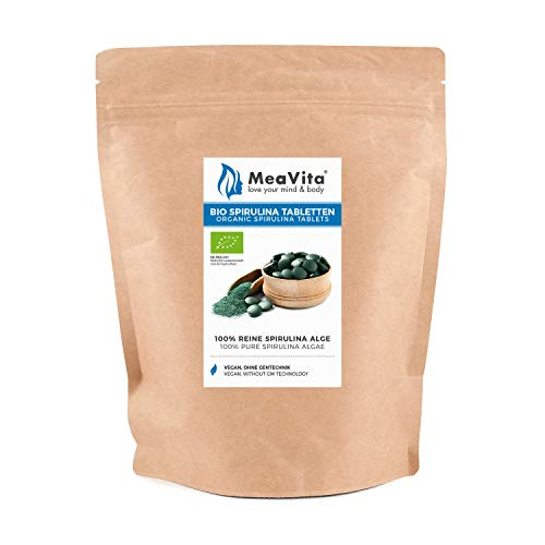 MeaVita Bio Spirulina Tabletten (500mg) ca. 800 Tabletten Spirulina Alge 400g im Beutel