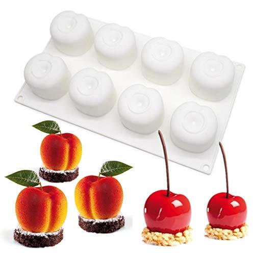 junengSO Backform, 8 Cavity Cherry Silikonformen für Mousse-Kuchen 3D-Kuchenform für Gebäckschokolade