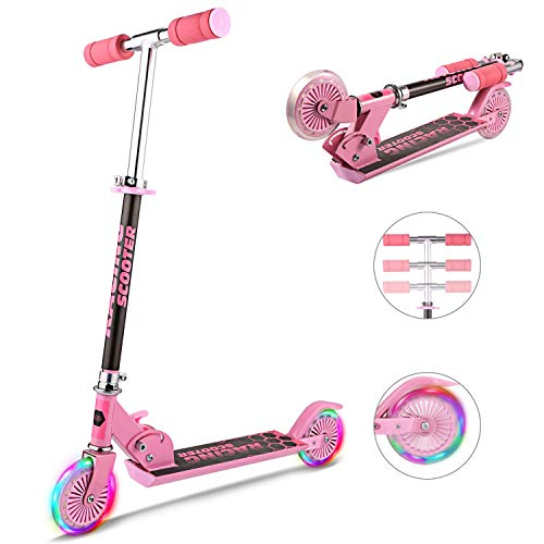 WeSkate Scooter for kids with LED Light Up Wheels, Adjustable Height Kick Scooters for Boys and...
