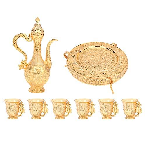 8 Stks Gouden Wijn Decanter en Bril Set, Metalen Wijnlikeur Decanter Set met 6 Glazen en 1 Plaat Europa Vintage Stijl Decanter Set voor Scotch Alcohol Bourbon