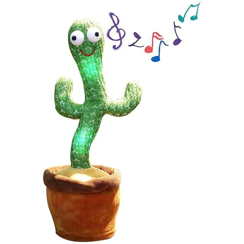 Mislaxy Sprechender Kaktus, Tanzender Elektronischer Kaktus Plüschtiere Electronic Shake Cactus Stofftier Geschenke für Kinder aufnehmen Lernen zu sprechen Puppen 120 Lieder Beleuchtung