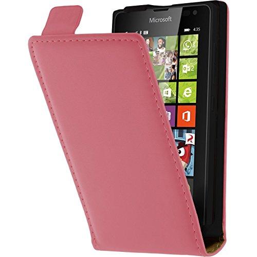 PhoneNatic Kunst-Lederhülle kompatibel mit Microsoft Lumia 435 - Flip-Hülle pink + 2 Schutzfolien