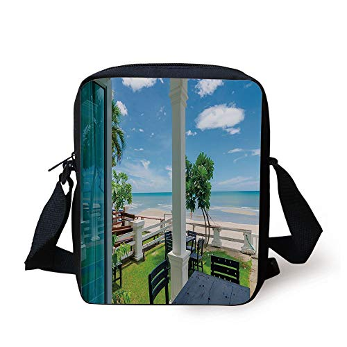 Coastal Decor,Outdoor Wood Chairs and Tables by The Sea Trees Greenery Summer Villa,Green Blue White Print Kids Crossbody Messenger Bag Purse