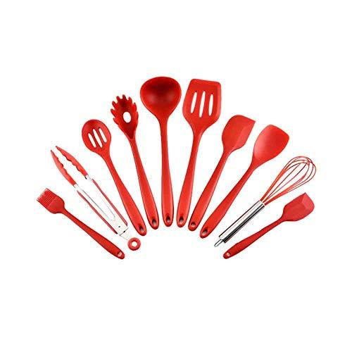 WZHZJ 10 Uds, Utensilios de Cocina de Silicona, Utensilios de Cocina antiadherentes, espátula, cucharón, batidores para Huevos, Pala, Cuchara, Sopa, Utensilios de Cocina