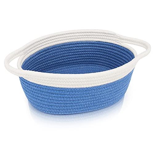 "ABenkle Small Woven Basket, Cute Oval Rope Basket 12""x 8"" x 5"", Room Shelf Bathroom Nursery Room Toy Storage Basket Chest Box, Empty Gift Baskets with Handles (Dark Blue)"