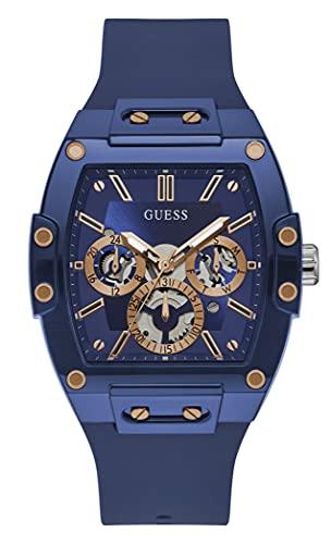 GUESS Men's Polycarbonate Quartz Watch with Silicone Strap, Blue, 24 (Model: GW0203G7)