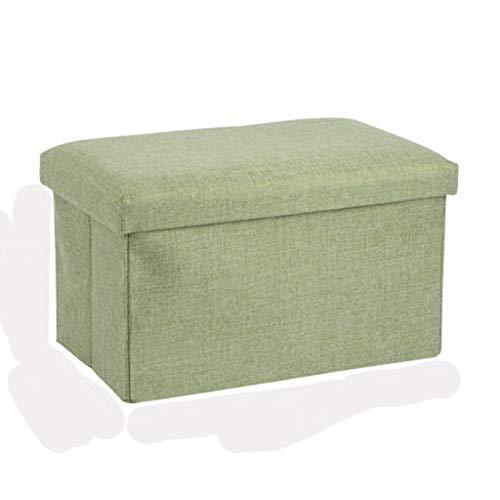 Ottoman Wddwarmhome Tabouret de Rangement pour boîte de Rangement de ménage en Tissu de Coton Capacité de Charge maximale 75 kg (Couleur : Green)