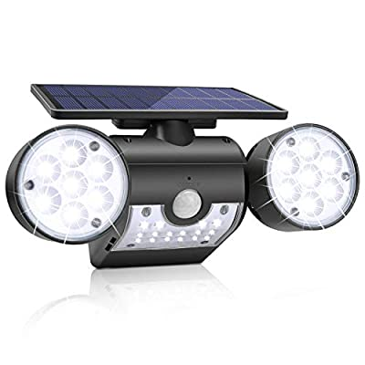 Solar Lights Outdoor,KeShi Solar Security Lights with Motion Sensor 360° Adjustable Dual Head Spotlights, IP65 Waterproof, Rotatable Solar Motion Security Night Lights for Outdoor Pation Yard Garden