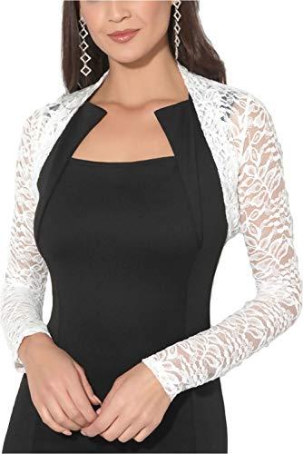 krautwear - Bolero da donna, a maniche lunghe, in pizzo, colore: nero, bianco, rosso, beige, blu, rosa Elfe-16. Taglia unica