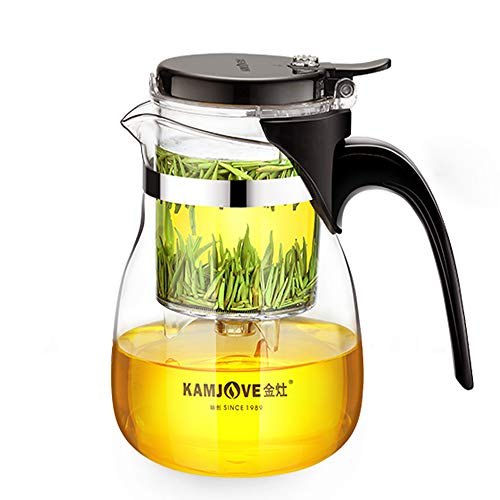 KAMJOVE Teekanne 600ml Glaskanne Teeservice Filtersieb, Since1989 Teapot Kungfutee Glas Teebereiter All-in-one-Set Tee und Kaffee –ausbaubarer Infuser