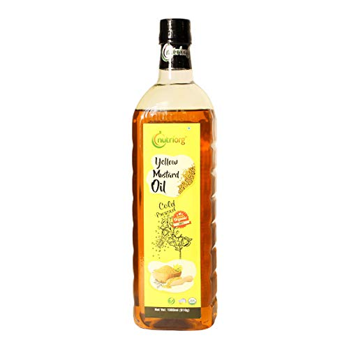 Nutriorg Cold Pressed 100% Organic Yellow Mustard Oil 1000 ml | Essential Cooking Purpose | Unrefined | Natural Filtration for...