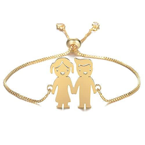 Chtom Pulsera Personalizada Personalizada Lindo Bebé Muchacha Pulsera Acero Inoxidable Grabado Nombre Fecha Brazaletes Ajustables para Child Cumpleaños Grabado (Color : Gold 1 Girl 1 Boy)