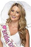 Smiffys Damen Junggesellinnenabschied Schleier mit Haarband, One Size, Weiß, 21820