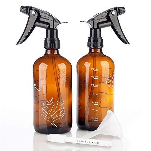 Amber Glass Spray Bottles Kit (2 - 16oz) - Glass Spray Bottles For Cleaning Solutions - Plant Spray Bottle - 2 Amber Spray Bottles - Glass Spray Bottle 16 oz - Amber Glass Bottles