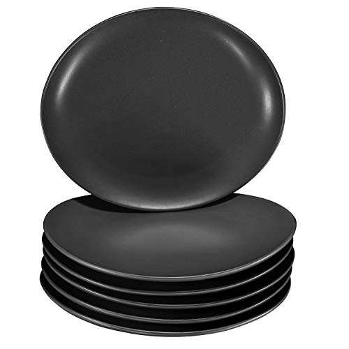 Pro-Grade 11' Curved Ceramic Restaurant Dinner Plates, Matte Black, Set of 6