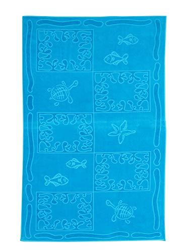 So My Home - Toalla de Playa de Terciopelo, algodón Puro, Talla XXL 100 x 200 cm, diseño Tropical Color Azul Oceano
