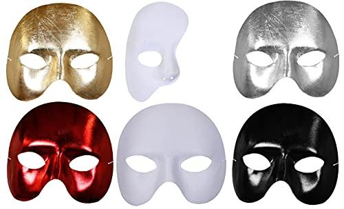 Máscaras de disfraces de Halloween – Máscara de media cara Phantom Accesorio disfraz de carnaval de Halloween – Disponible en 6 estilos diferentes (paquete de 12 – Plata)