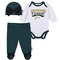 NFL Philadelphia Eagles Girls BODYSUIT FOOTED PANT AND CAP, Team Color, 6-9M